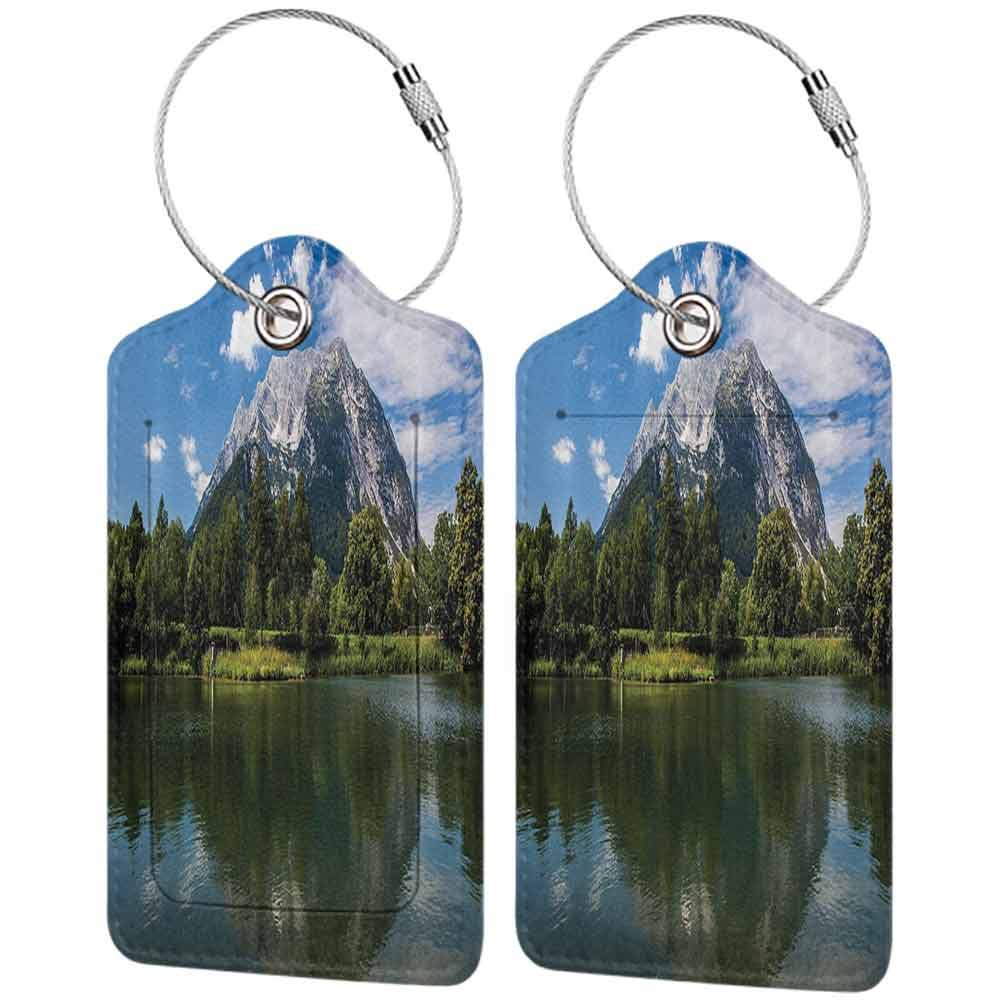 Flexible luggage tag Lakehouse Decor Collection Scenery of Rocky Mountain and Calm Lake at High Austrian Alps with Summer Forest Picture Fashion match Green W2.7 x L4.6