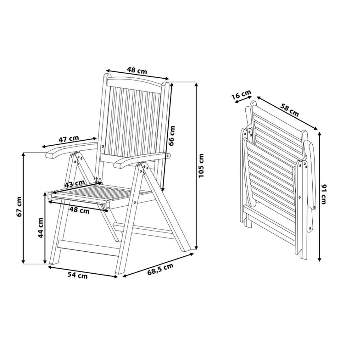 Beliani Holz Gartenstuhl - Stuhl mit verstellbarer Rückenlehne ...