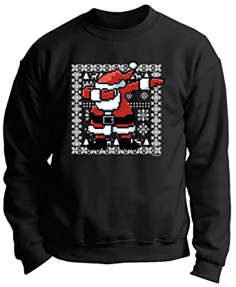 dabbing santa ugly christmas sweater dabbing santa claus ugly christmas sweater themed premium crewneck sweatshirt small