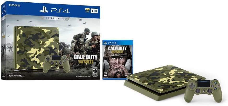 Pack Nouvelle PS4 1To Camo Design + Call of Duty World War II Deluxe Edition + Qui-es-tu ? (Jeu PlayLink a télécharger): Amazon.es: Videojuegos