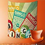 SOCOMIMI Wall Hanging Wall Tapestry Psychedelic Tapestry Bingo Game with Ball and Cards Pop Art Stylized Lottery Hobby Celebration Theme Tapestry Hamsa for Bedroom Living Room Dorm 59L x 90.5W Inches