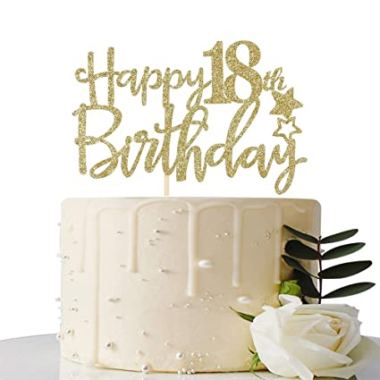 Amazon Gold Glitter Happy 18th Birthday Cake TopperHello 18 Forever Party Decoration Toys Games