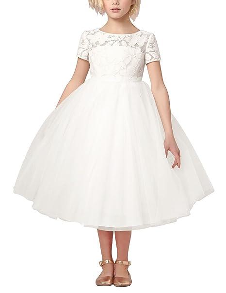 YIZYIF Niñas Vestidos De Princesa Dama De Honor Vestido Infantil Blanco Bautizo Fiesta Cumpleaños Para Niña