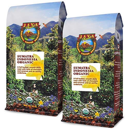 Java Planet - Sumatra Indonesian USDA Organic Coffee Beans, Dark Roasted, Fair Trade, Arabica Gourmet Specialty Grade A - 2 1lb ()