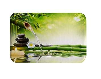 Izielad Zen Bambus Blume Stein Kerze Wasser Badematte Badewanne