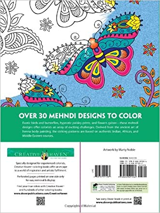 Dover Creative Haven Mehndi Designs Coloring Book Adult Durable Modeling