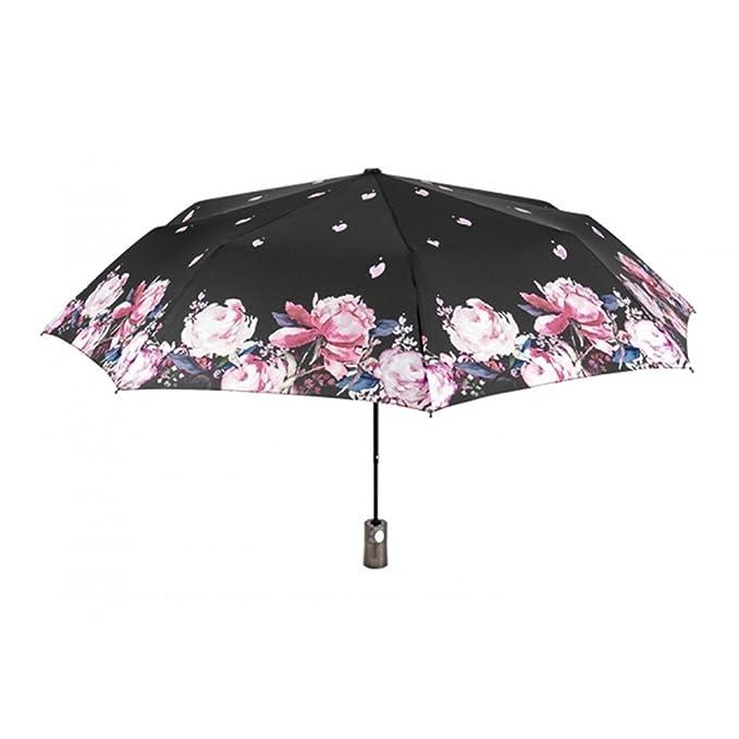 PERLETTI CHIC Paraguas mujer automático mini negro fantasía flores O17