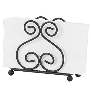 Home Basics Scroll Collection Steel Napkin Holder, Black