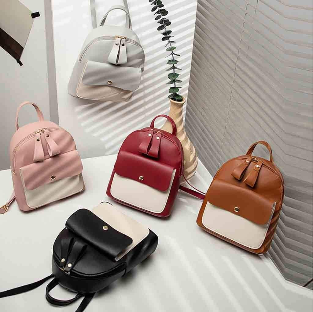 JJLIKER Contrast Flip Square Backpack Fashion Rucksack Satchels Shoulder Mini Bag Wallets Travel Leisure Pack
