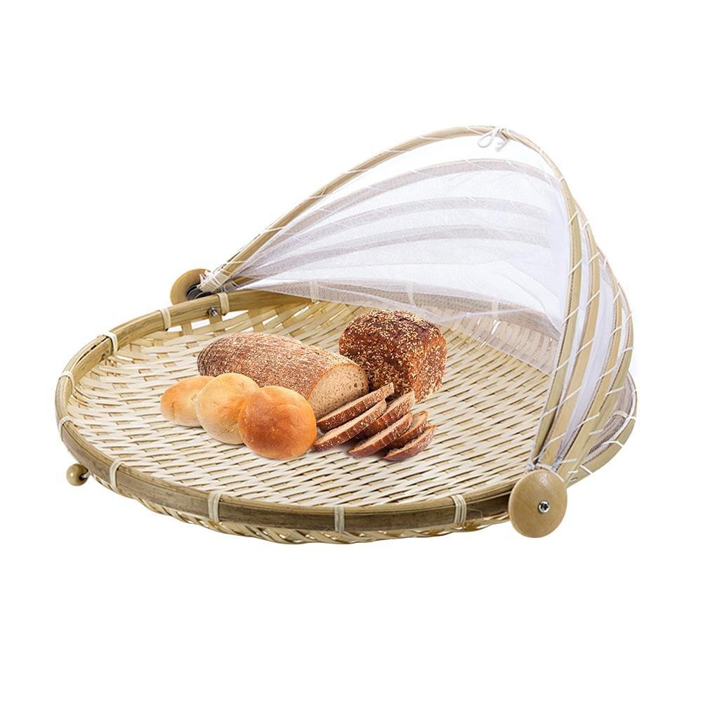 Hand-Woven Pest Control Basket Dustproof Sun Basket Handmade Bread Basket Fruit Cover Picnic Basket with Gauze