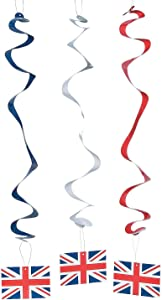 Fun Express - British Party Hanging Swirls for Party - Party Decor - Hanging Decor - Spirals & Swirls - Party - 12 Pieces