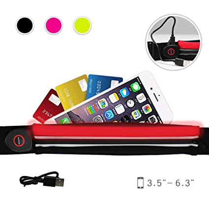 dd6f654a9aeb NORYER Running Belt with LED Safety Light - Adjustable Slim Waist Pack  Fanny Bag with an Expandable Pocket - Compatible with Smart Phones up to  5.5