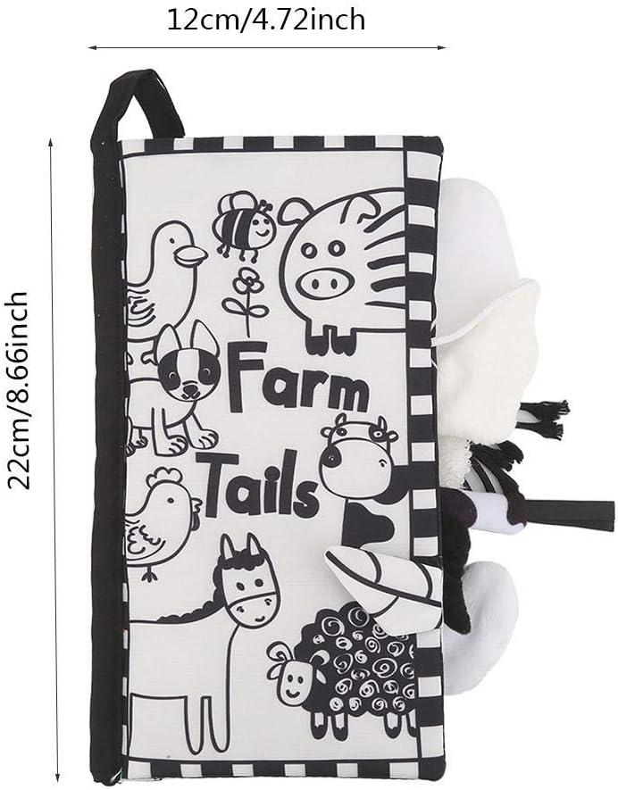 Black White Farm Livres de tissu de douche de b/éb/é livre de tissu froiss/é dactivit/é douce tissu s/ûr lavables Bools b/éb/é jouets d/éducation pr/écoce pour les tout-petits