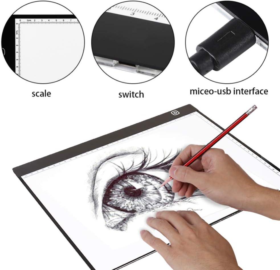Bolange LED A3 Tavolo Luminoso tavoletta Grafica tavoletta Luminosa Lavagna Digitale per Tablet con 3 Livelli di luminosit/à Regolabile per la Pittura a Diamante