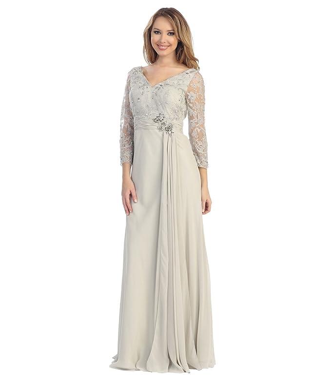 Unique Vintage 2014 Prom Dresses Silver Lace Chiffon