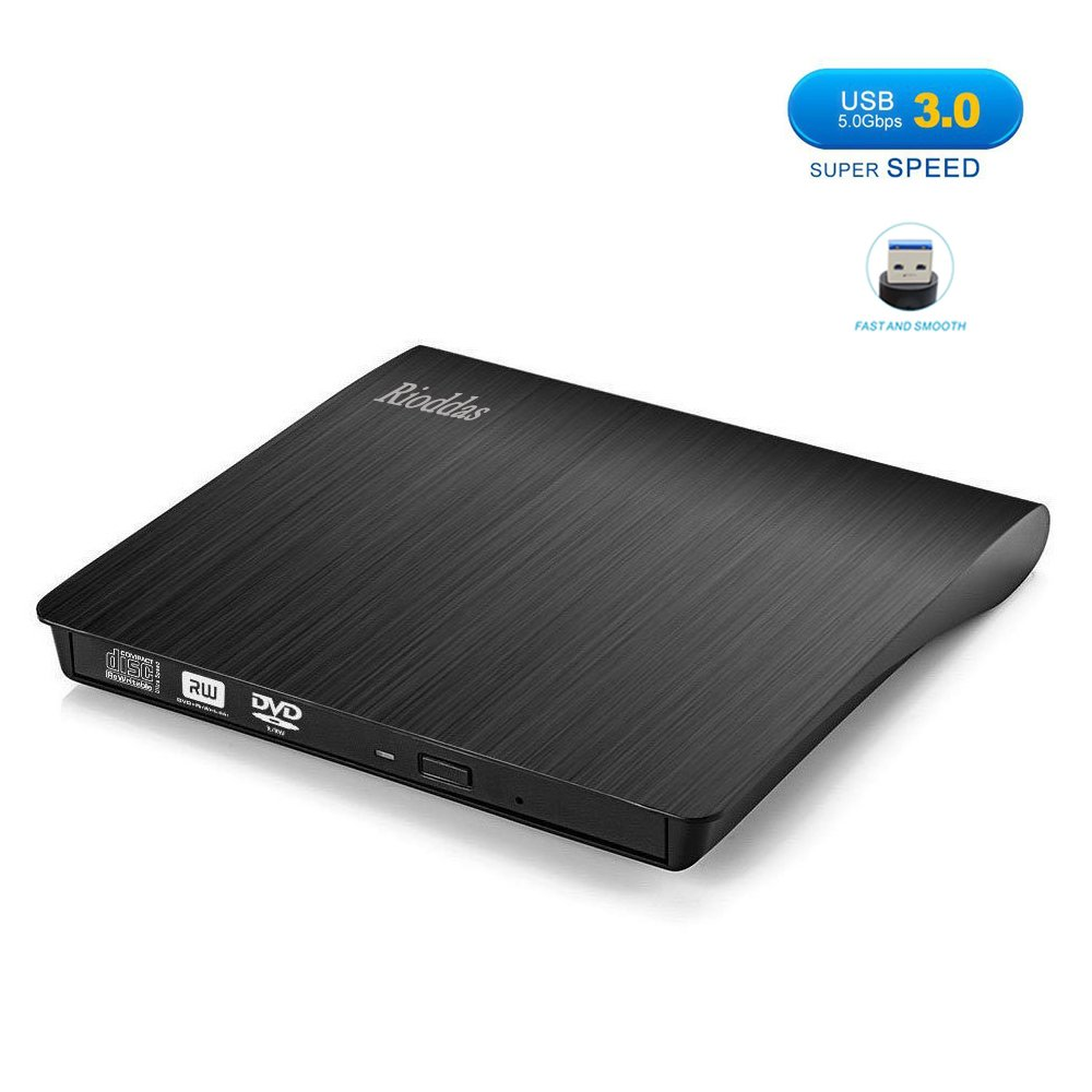 Rioddas External CD Drive, USB 3.0 Portable CD/DVD +/-RW Drive Slim DVD/CD ROM Rewriter Burner Superdrive High Speed Data Transfer for Laptop Desktop PC Windows and Linux OS Apple Mac Macbook Pro