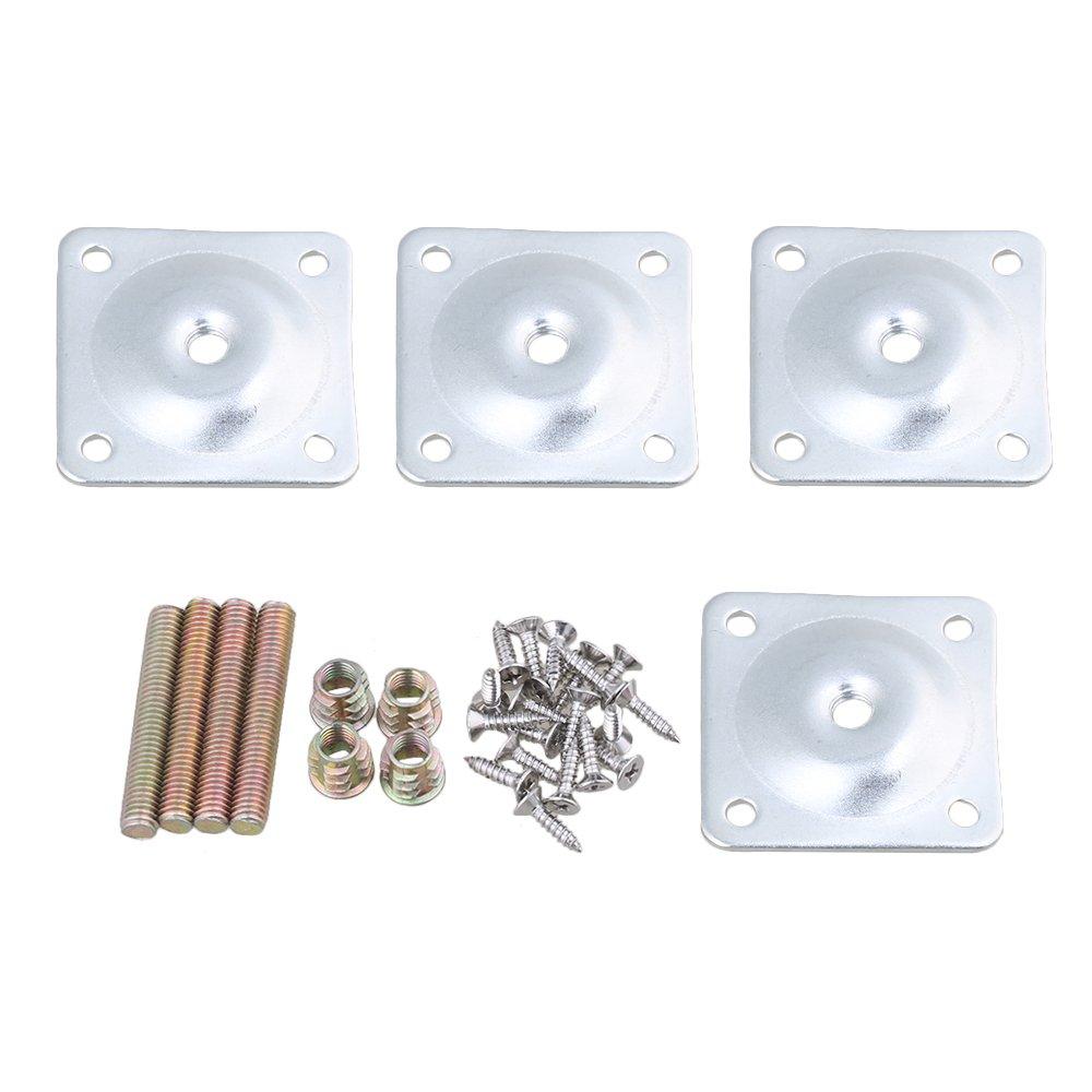 BQLZR 48 x 48 mm de hierro plata á ngulo de 12 grados pierna placas de montaje con tornillos tornillos adaptadores para muebles silla patas Pack de 4 M4171030038