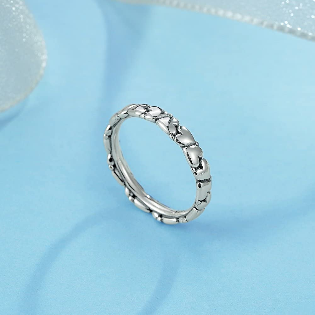 TONGZHE 3.6mm Vintage Love Heart Eternity Band Ring Stackable Finger Ring in Sterling Silver 925 Size 6-8