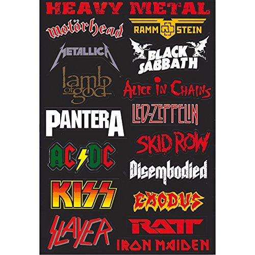 Amazon com navadeal 57pcs assorted rock punk music band vinyl laptop car bumper stickers home kitchen