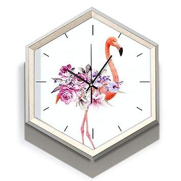 GGDGENJN Reloj de Pared/Reloj de Cuarzo, patrón Hexagonal Flamenco Mudo del Reloj del