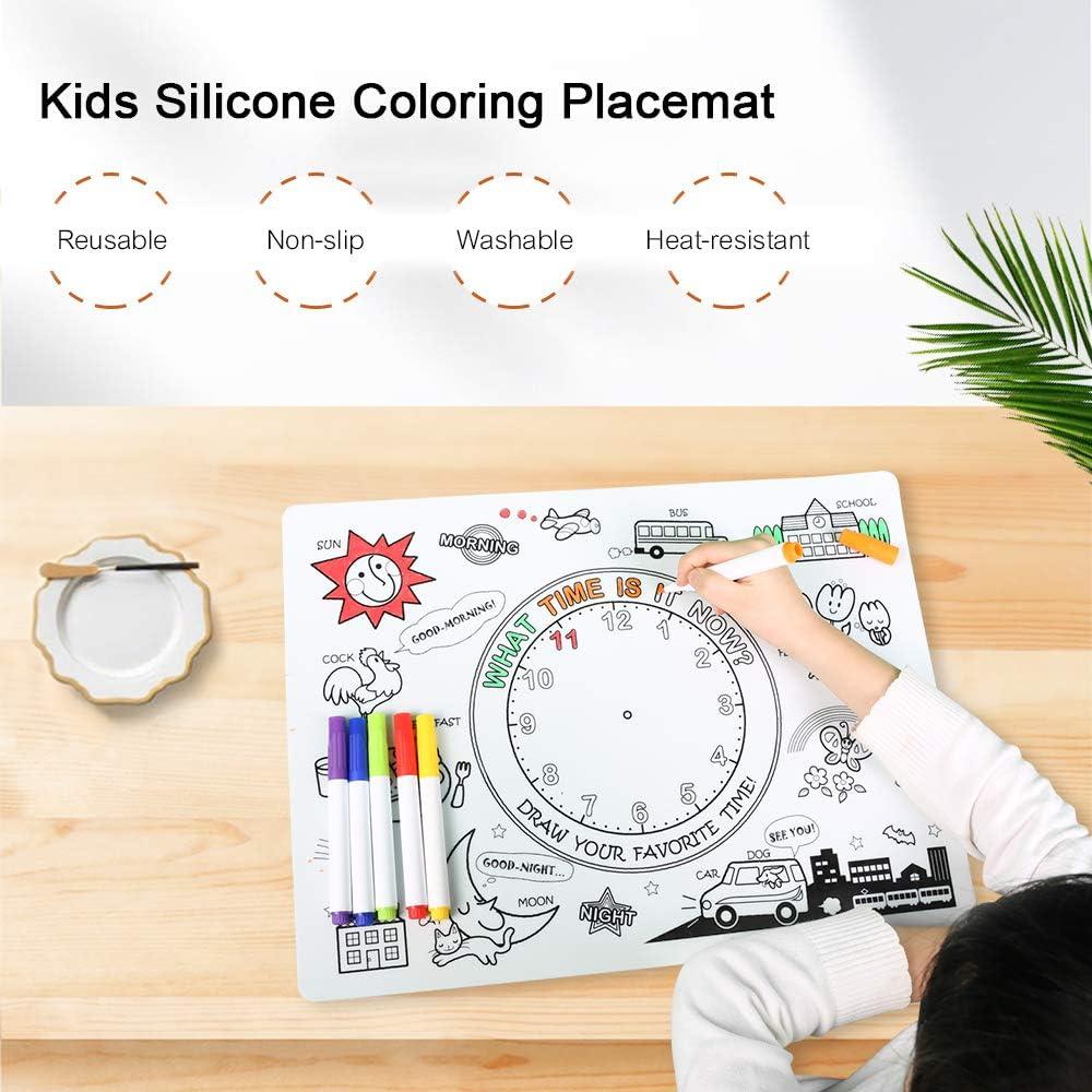 homese Apprentissage de table de coloration en silicone pour enfants avec 6 marqueurs non toxiques Tapis de dessin /à colorier pour enfants r/éutilisable antid/érapant lavable r/ésistant /à la chaleur