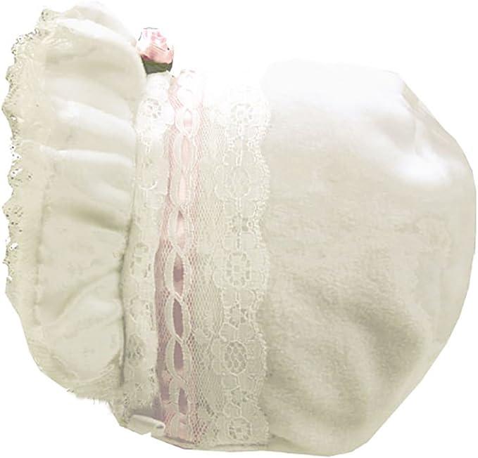 White Fleece Bonnet w//single Pink Rosebud pink ribbon and lace detail
