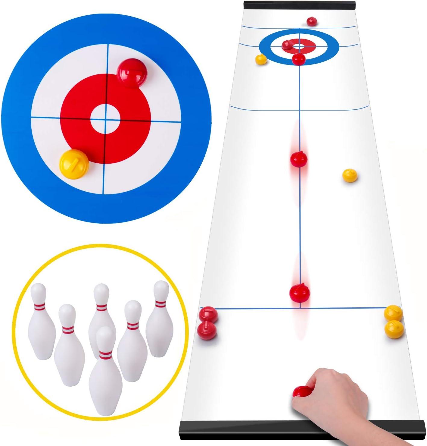 Rolimate Curling Juego Shuffleboard Juegos Familiares para niños y Adultos, Juegos de Mesa con 8 Rodillos 6 Bolos, Regalos de cumpleaños para 3 4 5+ Juegos de Viaje para niños Almacenamiento Compacto:
