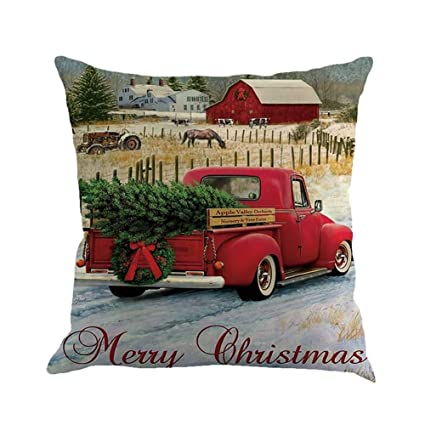 Fairylove 18 x 18 mas Linen Cushion Cover Pillowcases with Zippers Decorative Truck Series Sofa Car Cushion Covers,XmasTruck 1