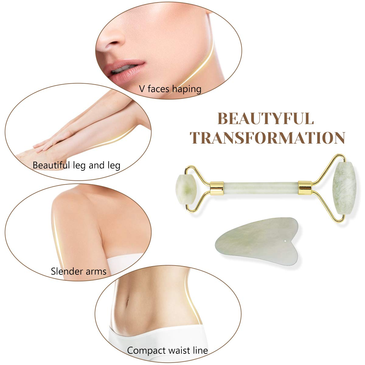 Jade Roller Gua Sha Set-Jade Roller For Face 2019 UPGRADED FGXJKGH Facial Roller Massager Body Eyes Neck Massager Tool for Eye Puffiness,Aging Release Pressure-100% Original Natural Jade Stone by FGXJKGH