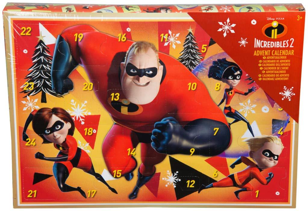 Gli Incredibili 2 Calendario dell'Avvento per Bambini Natale 2018 Disney Pixar Timbri Adesivi Olografici Gommine Pastelli Incredibles