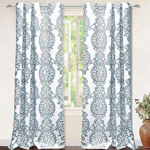 DriftAway Samantha Thermal Room Darkening Grommet Unlined Window Curtains Floral Damask Medallion Pattern Set of 2Panels 52 Inch 96 Inch Blue