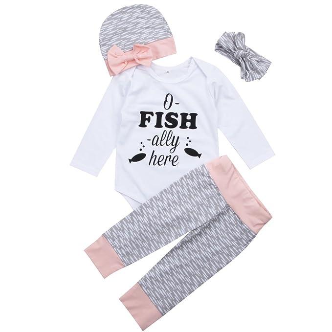 432ade4270a57 Cute 4Pcs/Set Infant Newborn Baby Girl Long Sleeve Romper+ Fish Print  Pants+ Knot Headwrap+