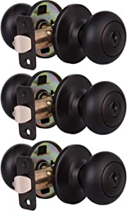 3 Pack Keyed Entry Door Lock for Exterior and Front Door, Keyed Alike Round Door Knobs Handle with Lock and Key, Oil Rubbed Bronze Finish