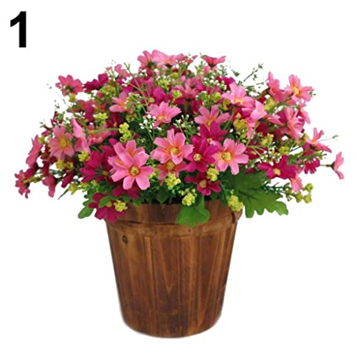 1 Bouquet 28 Heads Artificial Fake Cute Daisy Flower Home Wedding Garden  Decor   Pink Amesii