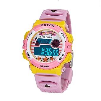 elegante llevado de múltiples último reloj digital de luz al aire libre linda de los niños reloj rosa para las niñas correa de silicona: Amazon.es: Relojes