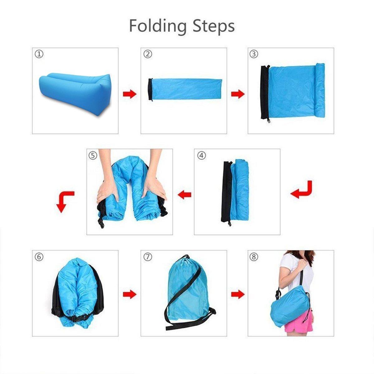 kemxi tech Outdoor Air Sofa Fast Inflatable Laybag Sof/á perezoso del sof/á perezoso del saco de dormir de la cama de aire de la playa del ocioso de la caminata