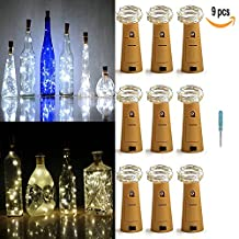 LXINGS Pack of 9 Cork Shape Wine Bottle Lights,Silver Wire 46cm(18in) Battery Operated Starry Rope Fairy Lights For Bottle DIY,Christmas Halloween Wedding Party Indoor Outdoor Decoration(Pure White)
