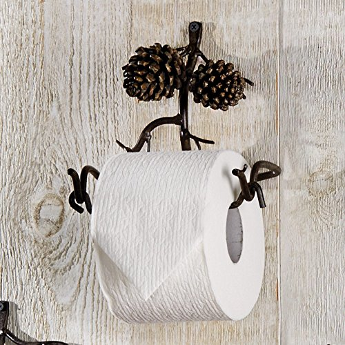 Pine Bough Toilet Paper Lodge Holder - Cabin Bathroom (Pinecone Toilet Tissue Holder)