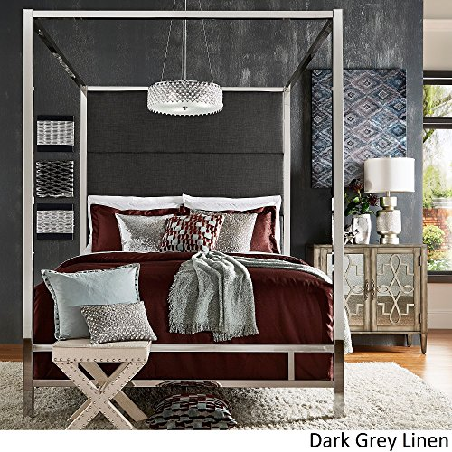 - Inspire Q Evie Chrome Metal Canopy Bed with Linen Panel adboard by Bold Charcoal King
