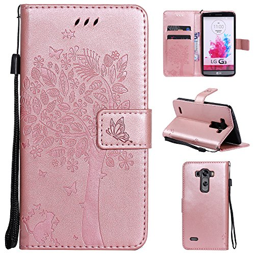 mellonlu LG G3 Case, Luxury Wallet Leather Style Flip Folio Magnetic Case Card Slot Stand Cover with Wrist Strap for LG G3 (Rose Gold) (Case Phone Lg G3 Gold)