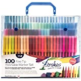 Strokes Art 100 Fine Tip Kids Coloring Markers - Washable - Smudge Free - Vibrant colors - Carry Case