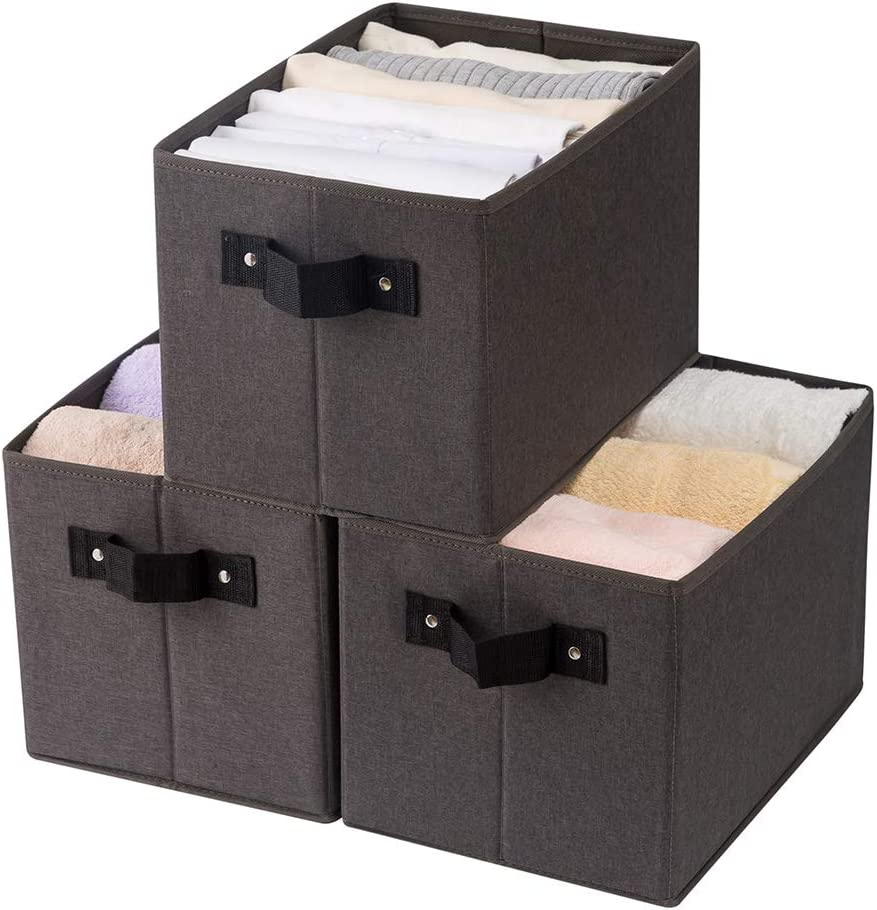 Qozary 3 Pack Storage Baskets for Shelves, No Smell Storage Bins for Closet Shelves, Fabric Cube Boxes with Handles for Organizing Home Closet, Office, Toys (Dark-Grey, Large)
