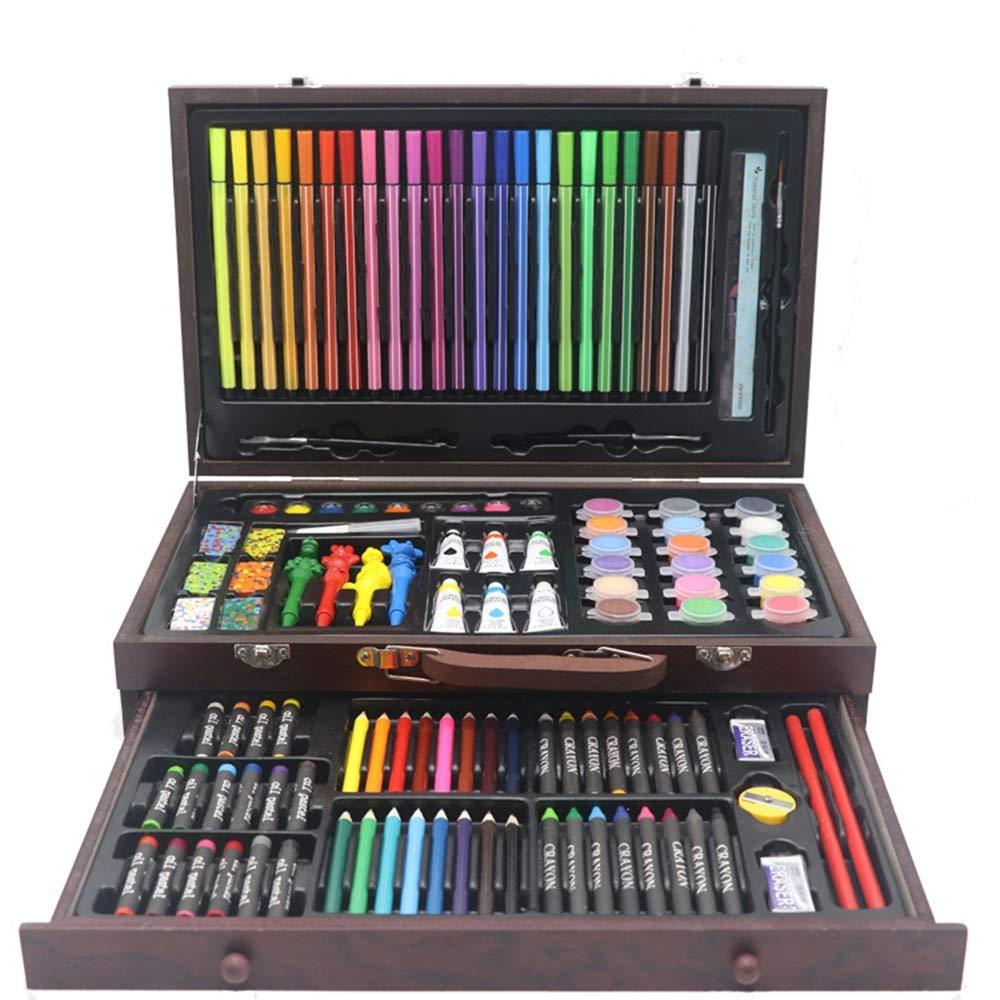 Conjunto de arte de madera, 130pcs profesional de la niños pintura de los niños la conjunto incluyendo lápices artísticos crayón cepillos de la regla y otro conjunto de lujo de arte, para niños y principiantes 4bc485