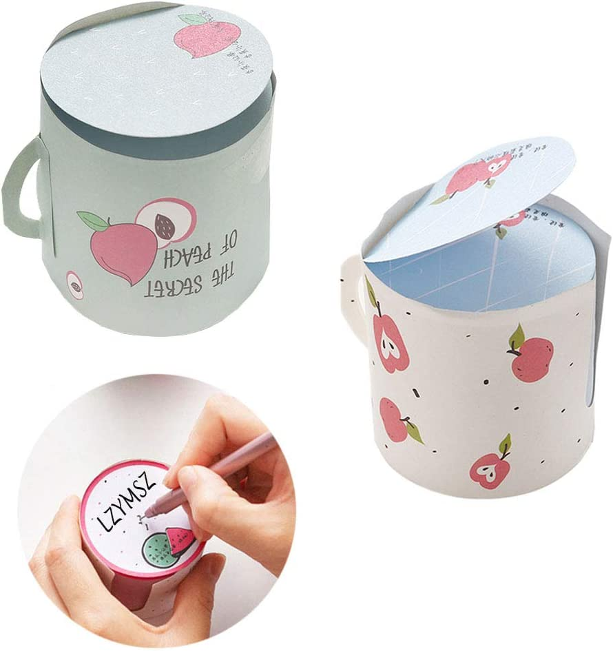 2PCS Self Sticky Notes, 2.2 x 2.4inch Cup Shaped Removable Note Paper, 2 Cute Fruit Pattern Sticky Note for Students, Home, Office, Classroom-400 Sheets/pad (Apple + Peach)
