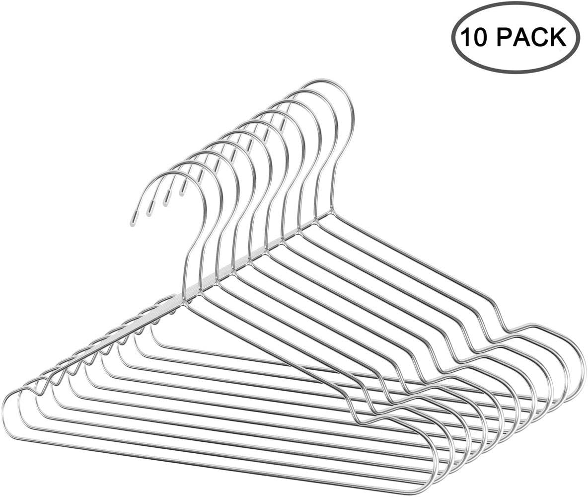 Annomor 12 Heavy Duty Stainless Steel Hangers for Kids Baby Infant Toddler Children Clothes Hangers Metal Hangers Pack of 10