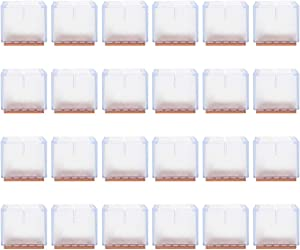 Silicone Chair Leg Floor Protectors Covers Square, Silicone Furniture Leg Caps for Hardwood Floors, Clear Color, Felt Pad, 24 Pack, Fit Square Chair 1-5/8 to 1-7/8 inches (42-48 mm)