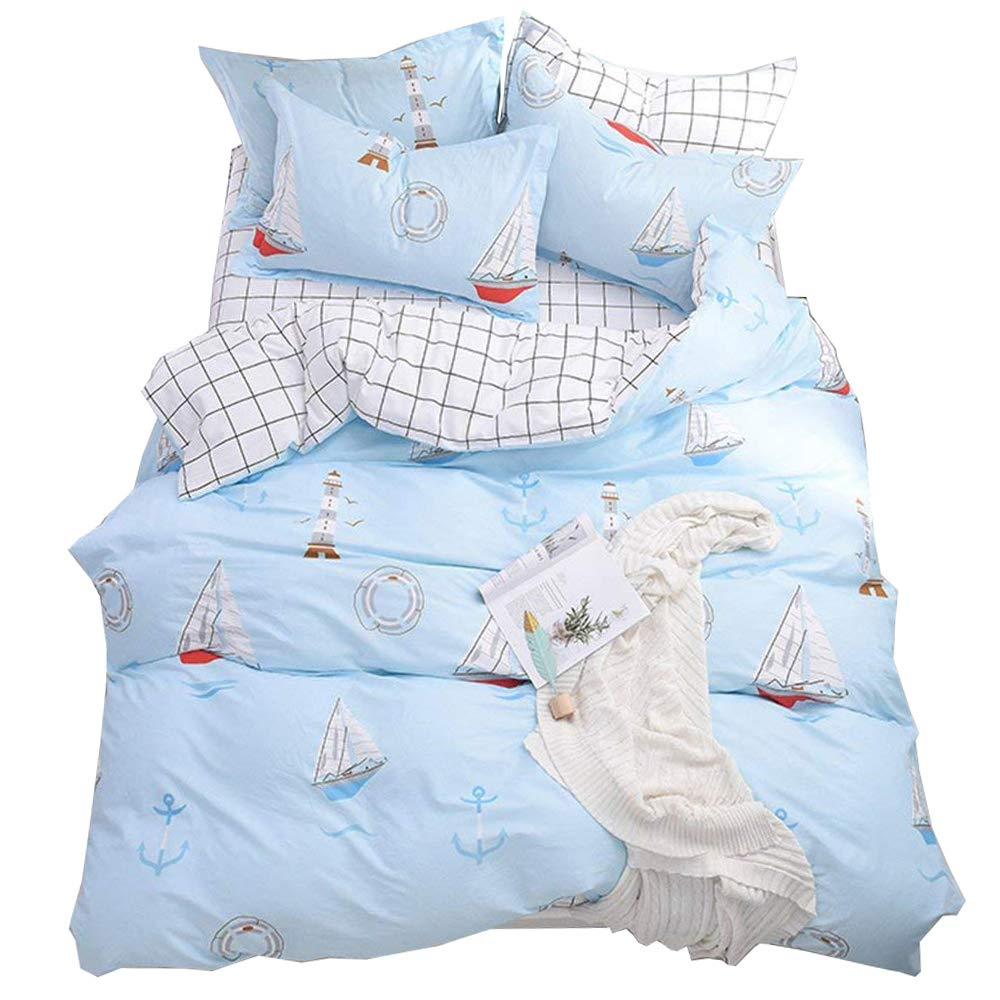 Kids Boys Sailing Theme Bedding Sets Twin 3 Piece Premium Cotton Sailing Boat Tower Mew Print Duvet Cover Set Twin Reversible White Black Plaid Grid Kids Comforter Bedding Sets Twin