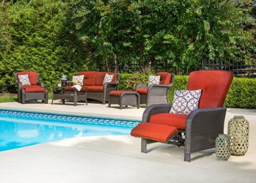 Hanover Strathmere Outdoor Luxury Recliner, Rich Brown Crimson Red