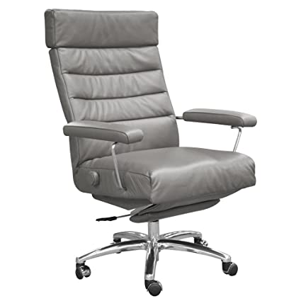 Adele Executive Recliner Office Chair Grey Leather By Lafer Recliner Chairs