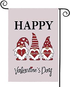Weimaro Valentine's Day Garden Flag, Gnome Love Heart Garden Flag, I Love You Double Sided Garden Outdoor Yard Flags, Happy Valentine's Day Garden Flag Decorations Banner, 12.5 x 18 Inches